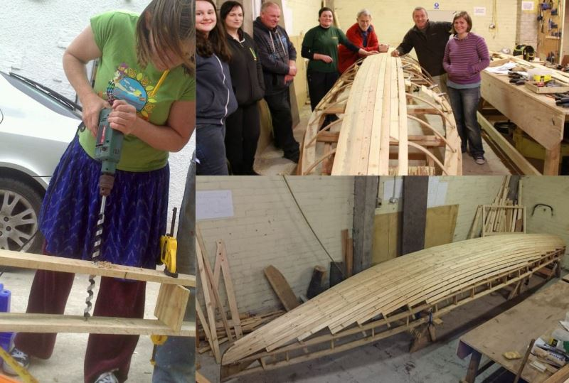 A collage of people building a currach boat.