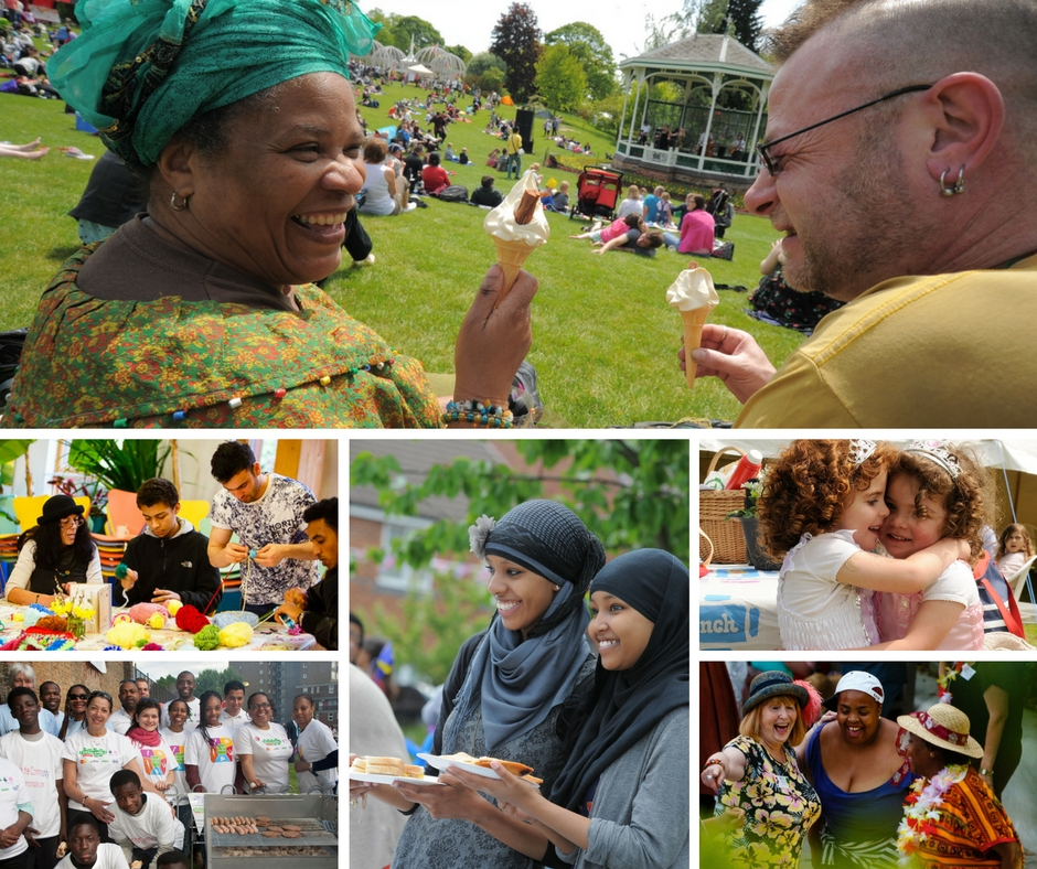 A collection of photos of people at a Big Lunch or on Community Camp.