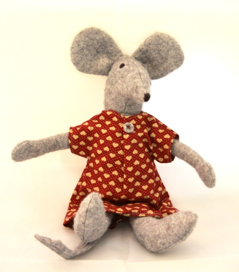 A homemade mouse stuffed toy.