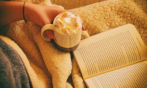 Book and hot chocolate