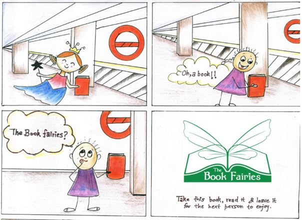 First section of the Book Fairy cartoon strip