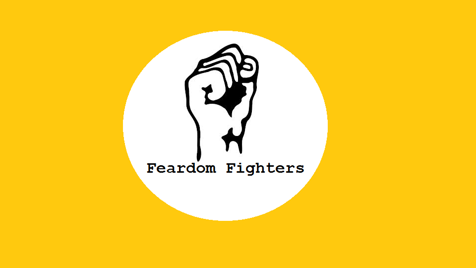 A yellow logo with a fist.