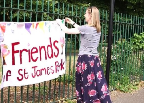 Photo of bunting at St James Park for Big Lunch