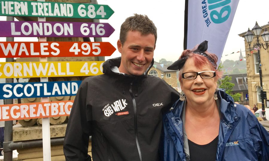 Photo of Scottish walker Josh Quigley with Jo Brand