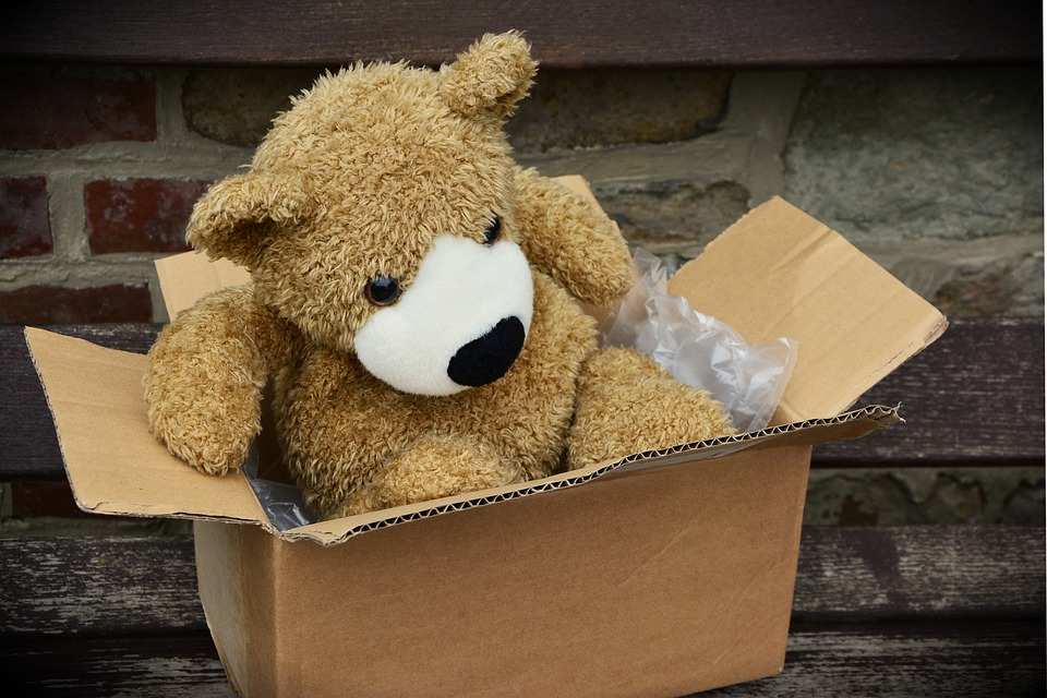 Teddy bear sitting in a box.