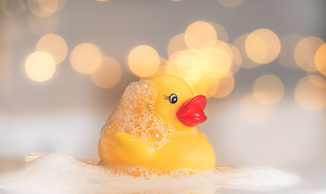Rubber duck with bubbles