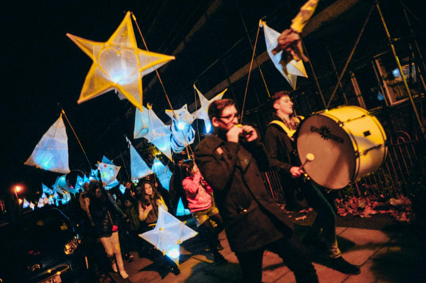 Marching band at a lantern parade.