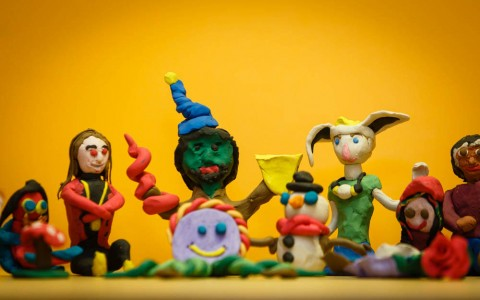 Photo of a group of handmade clay people
