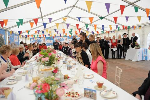 Mayor of Armagh City and District, Councillor Freda Donnelly welcomes The Duchess of Cornwall to the Palace Demesne Big Jubilee Lunch