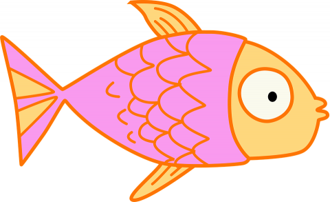 A cartoon of a pink fish.