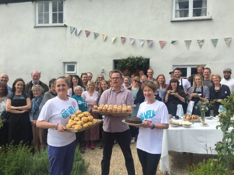 Judy and Jane with Hugh Fearnley-Whittingstall for The Big Lunch at River Cottage.
