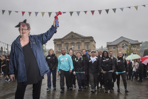 Jo Brand launching The Great Big Walk in Batley.
