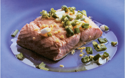 KEN HOM'S Ten-minute Salmon with Spring Onions