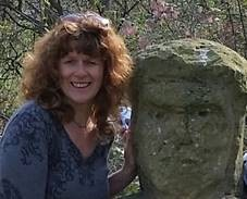 Tracey Robbins pictured with Stone Sculpture.