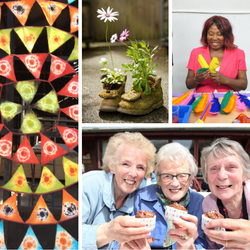 A collage of images including apples, street art and old ladies holding cupcakes.