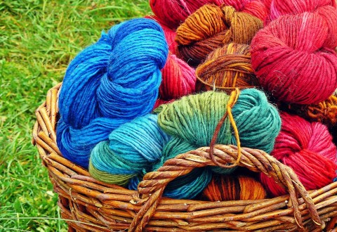 Photo of balls of wool in a basket