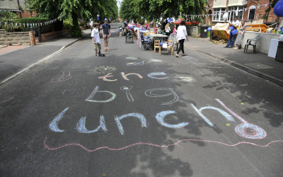 The Big Lunch written in chalk.