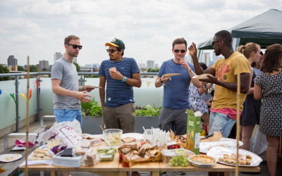 Photo of people chatting over food