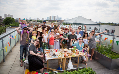 Photo of a rooftop Big Lunch in London