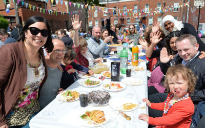People enjoying a Big Lunch