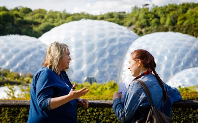 Two people at Eden Project