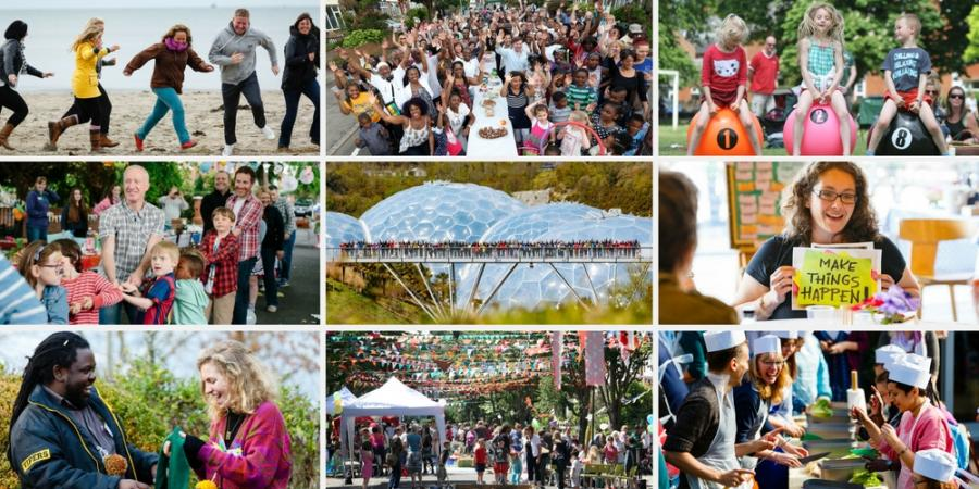 A collage of photos depicting community activities.