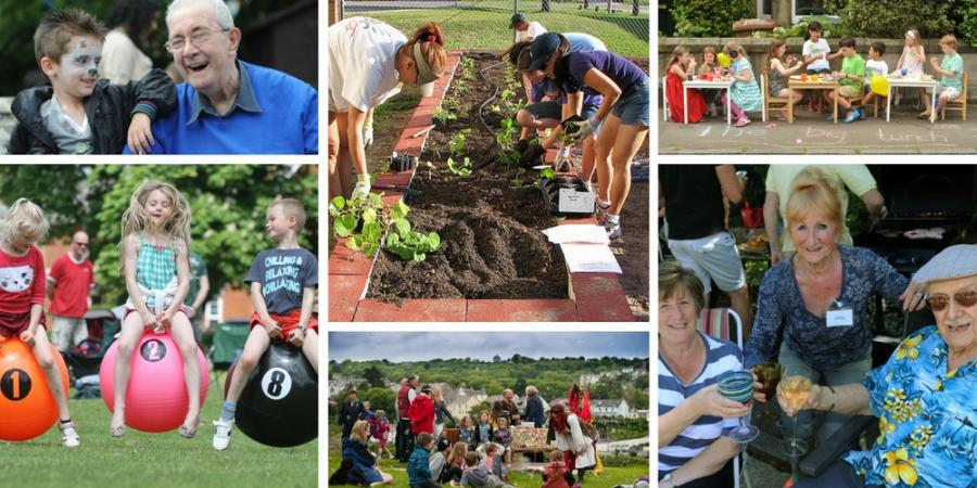 A collection of photos of people enjoying their community.