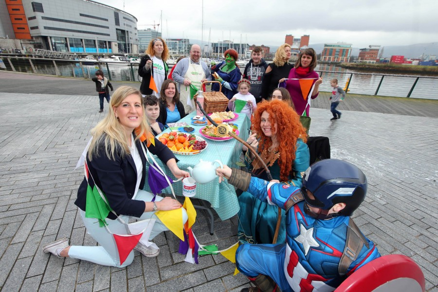 A group of people having a Big Lunch at Belfast Harbour.
