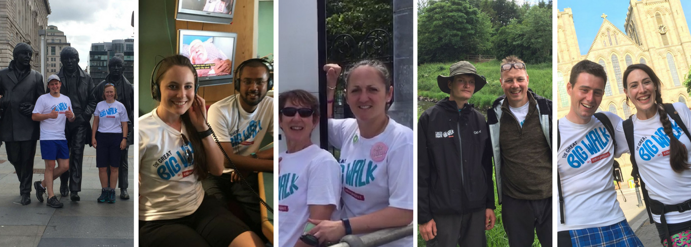 A collage of the 5 walking teams 2017