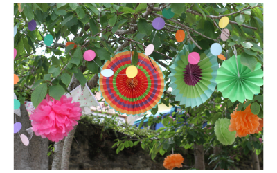 paper decorations in trees